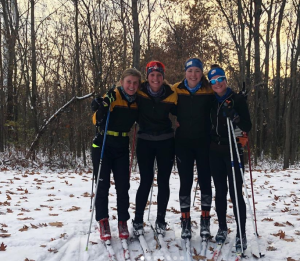 St Olaf skiers on the first snow of the fall